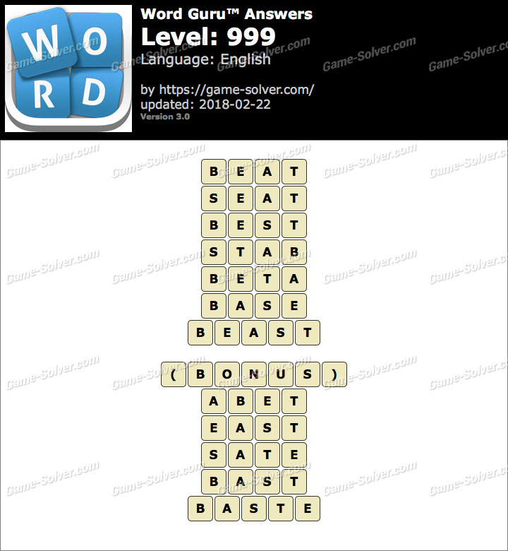 Word Guru Level 999 Answers
