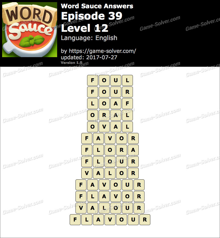 Word Sauce Episode 39-Level 12 Answers