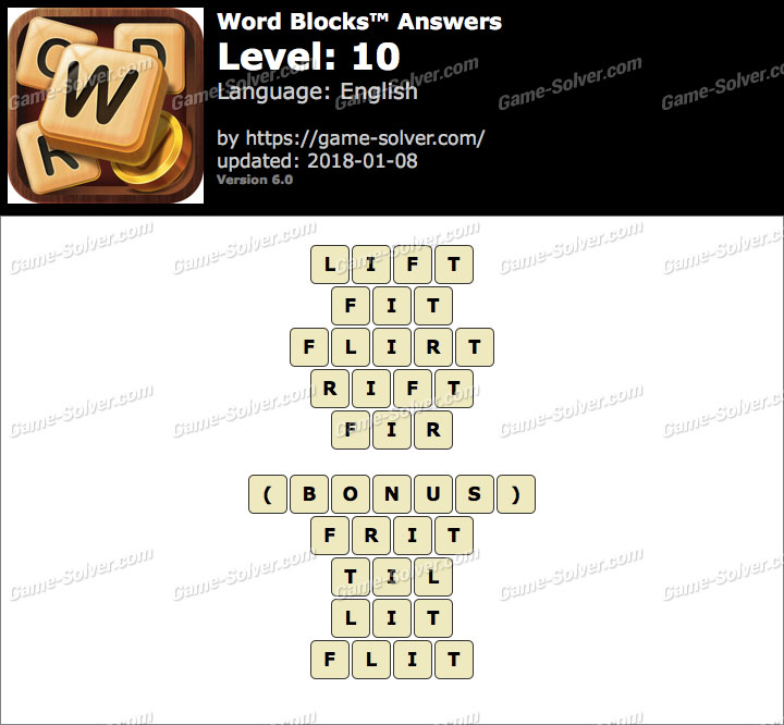 Word Blocks Level 10 Answers