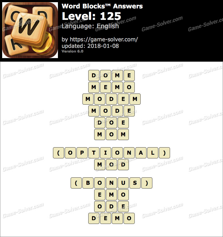 Word Blocks Level 125 Answers
