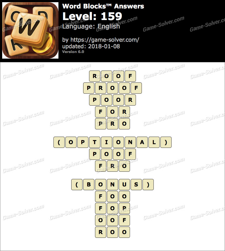 Word Blocks Level 159 Answers