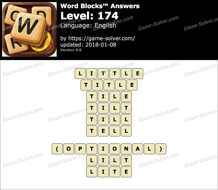 Word Blocks Level 174 Answers