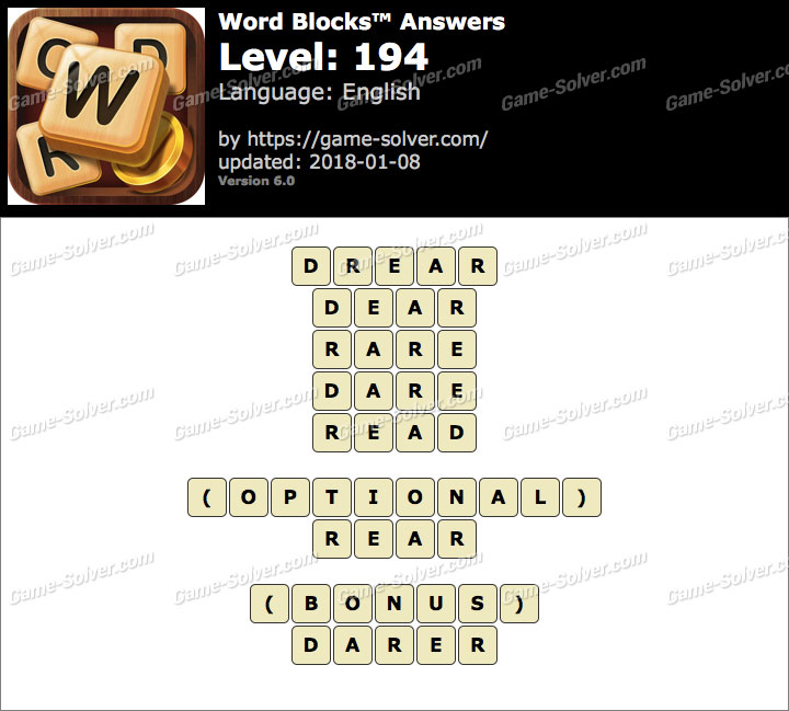 Word Blocks Level 194 Answers