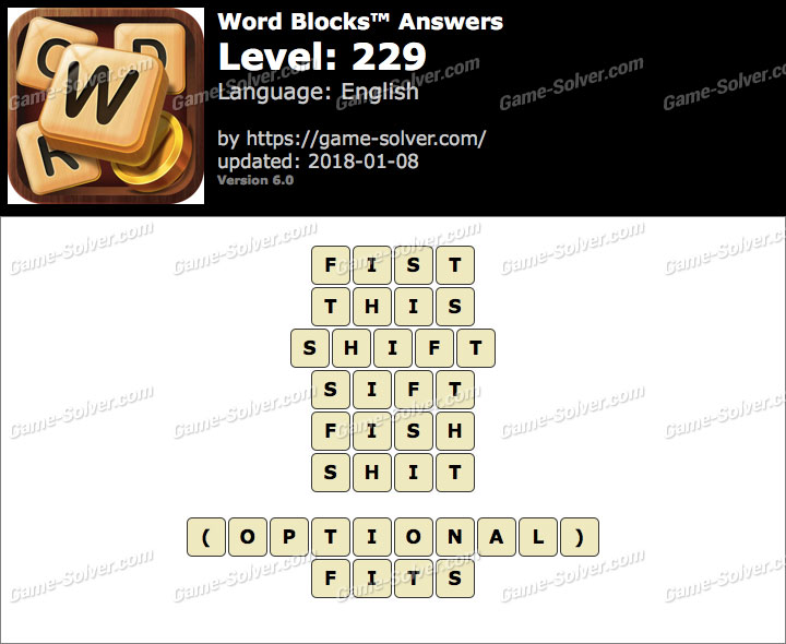 Word Blocks Level 229 Answers