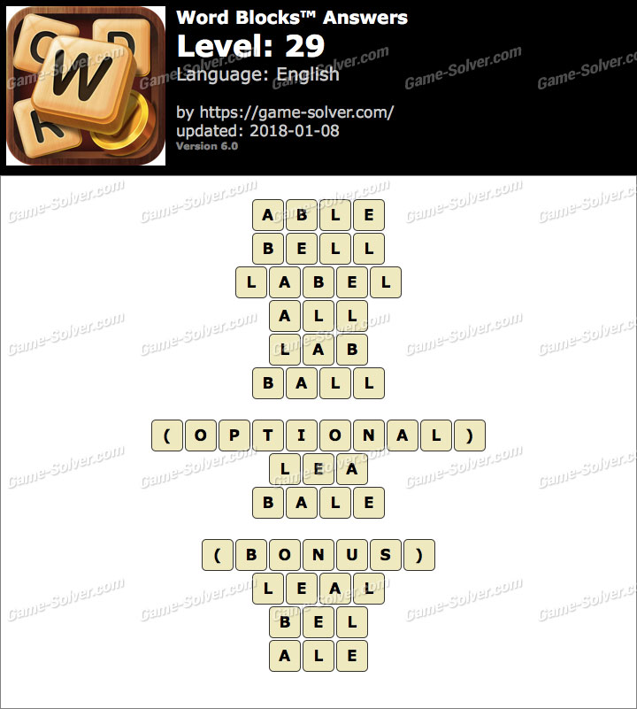 Word Blocks Level 29 Answers
