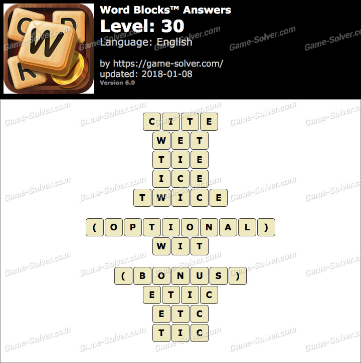 Word Blocks Level 30 Answers