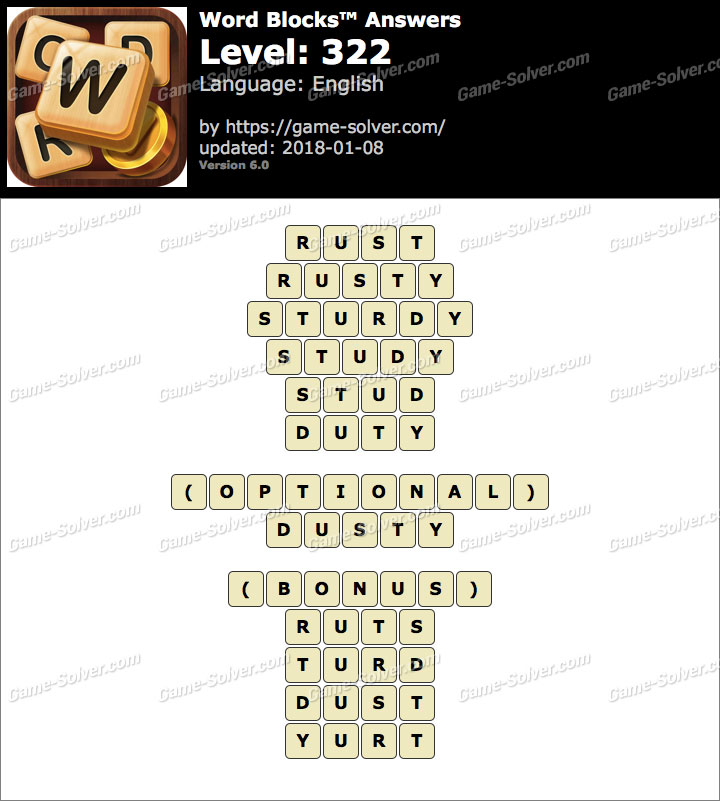Word Blocks Level 322 Answers