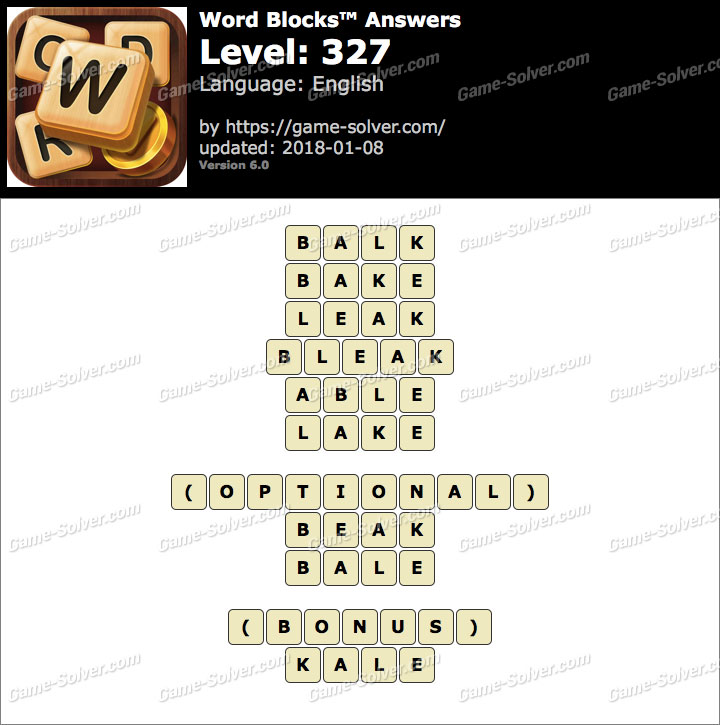Word Blocks Level 327 Answers