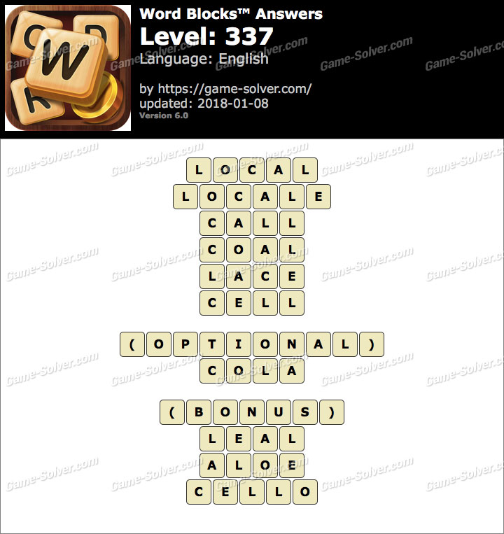 Word Blocks Level 337 Answers