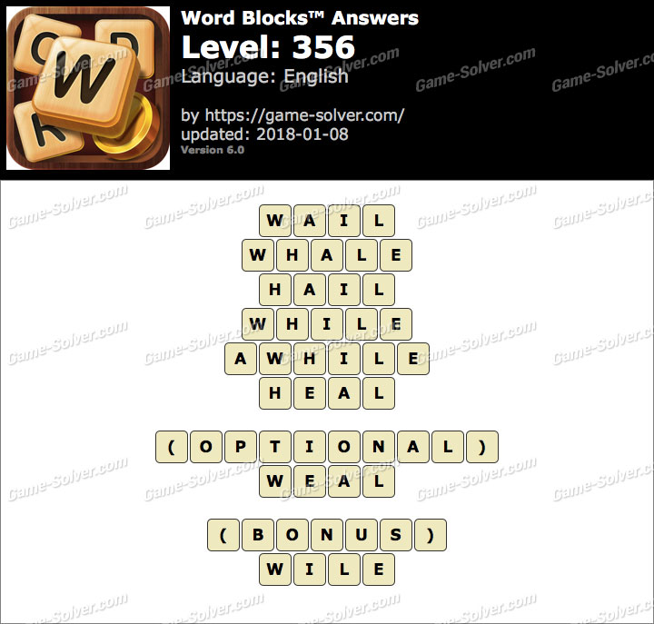 Word Blocks Level 356 Answers