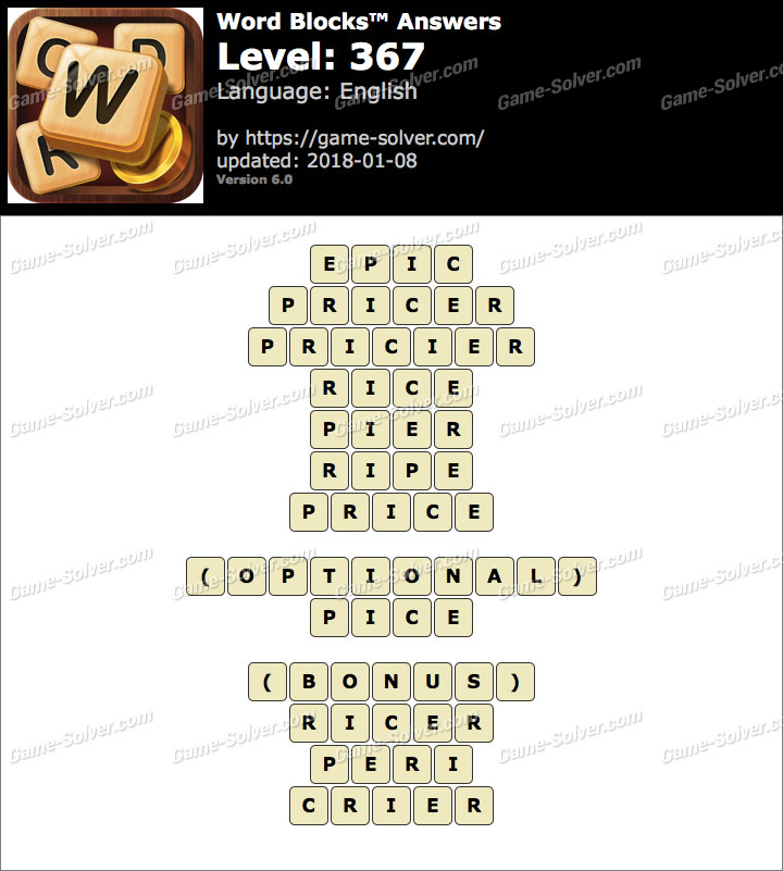 Word Blocks Level 367 Answers