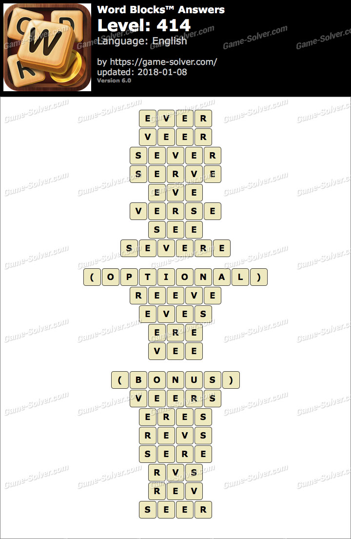 Word Blocks Level 414 Answers