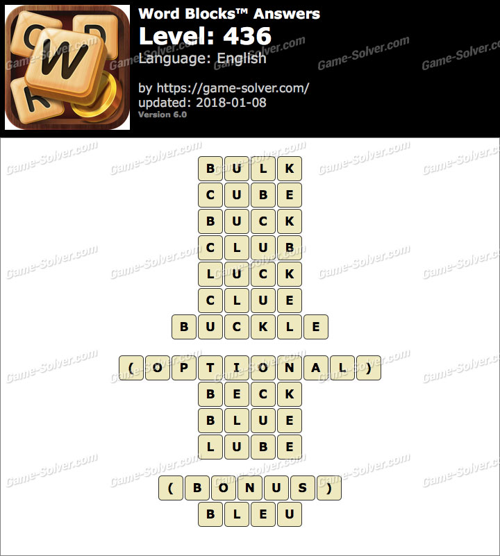 Word Blocks Level 436 Answers