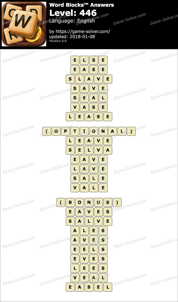 Word Blocks Level 446 Answers