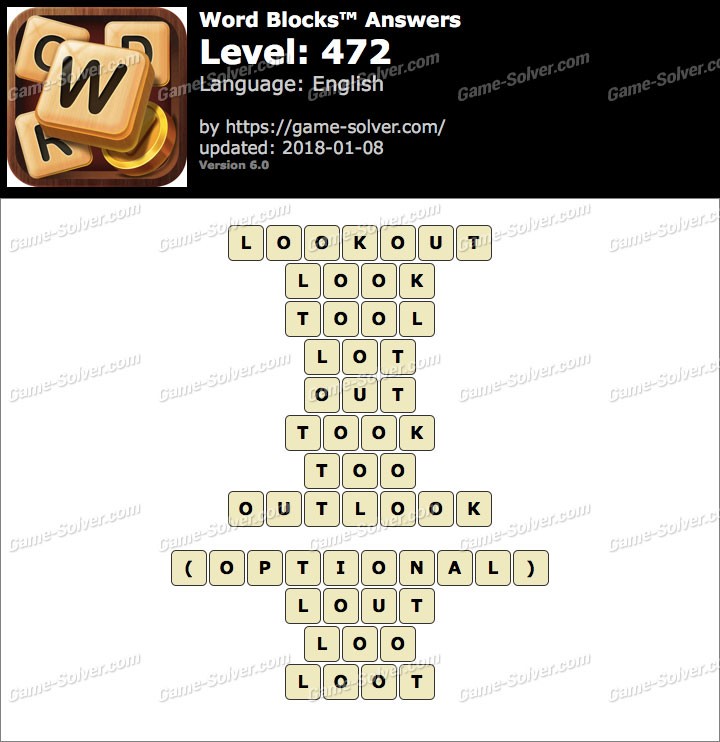Word Blocks Level 472 Answers