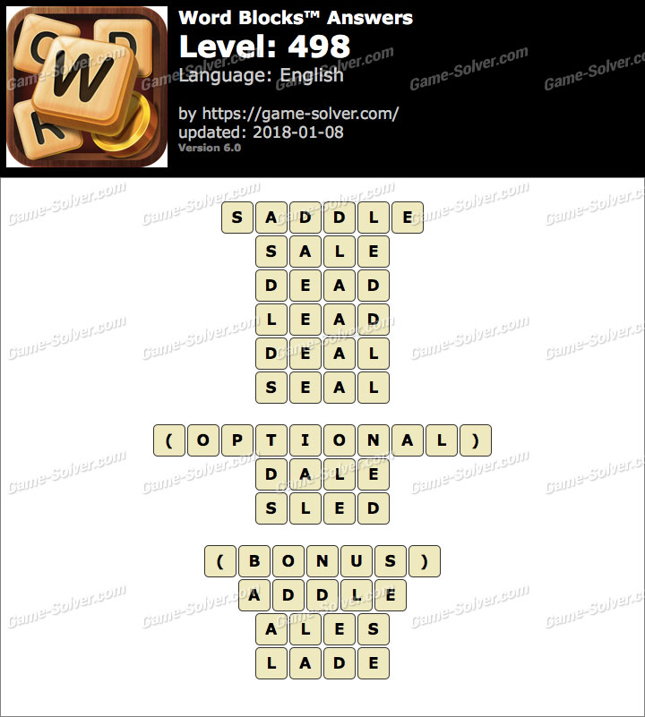 Word Blocks Level 498 Answers