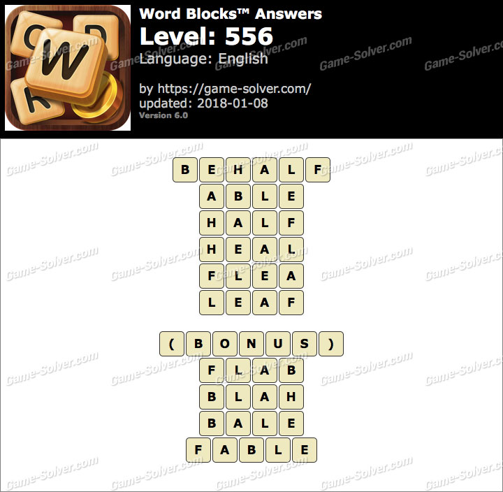 Word Blocks Level 556 Answers