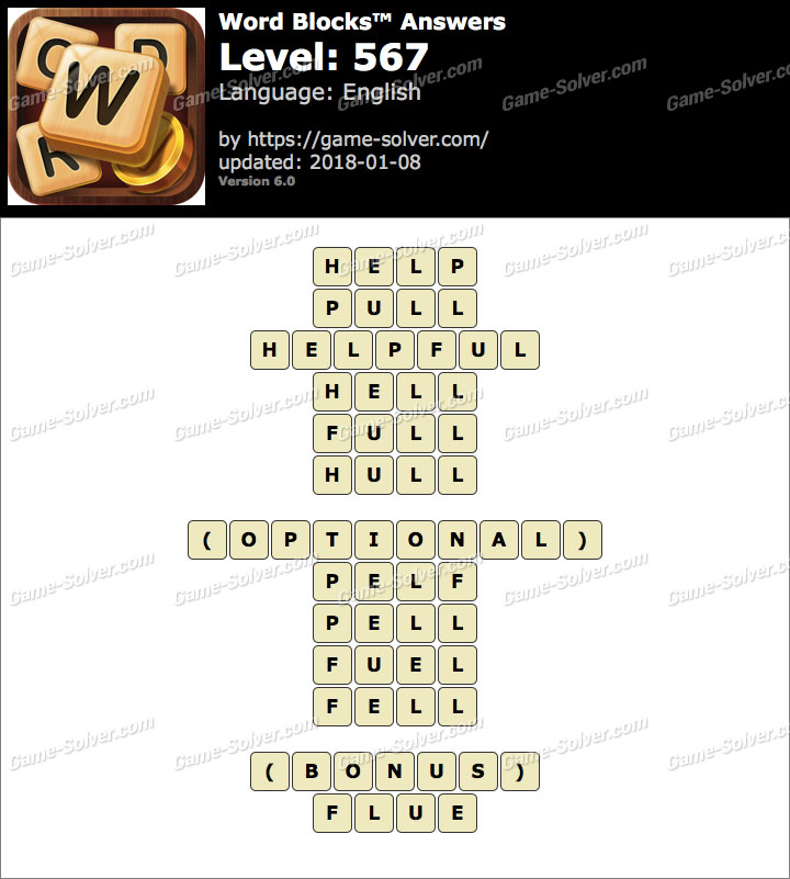 Word Blocks Level 567 Answers