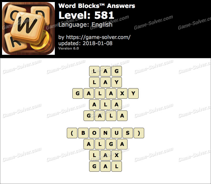 Word Blocks Level 581 Answers