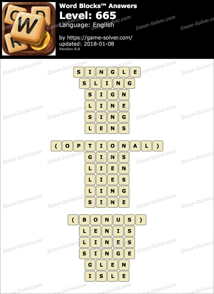 Word Blocks Level 665 Answers