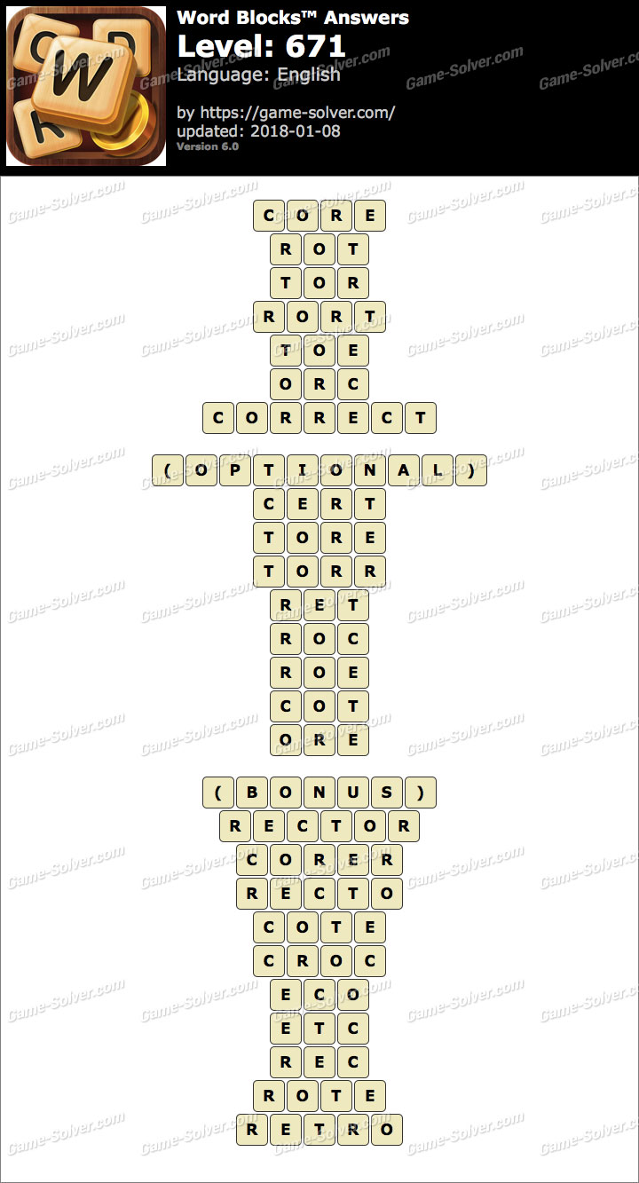 Word Blocks Level 671 Answers