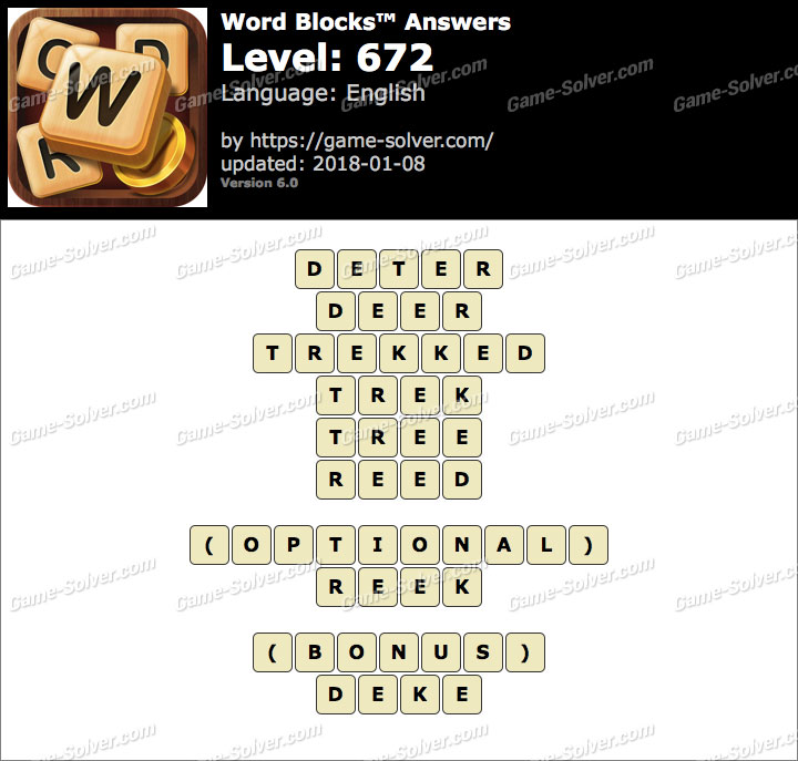 Word Blocks Level 672 Answers
