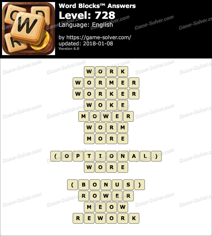 Word Blocks Level 728 Answers