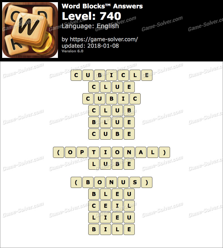 Word Blocks Level 740 Answers