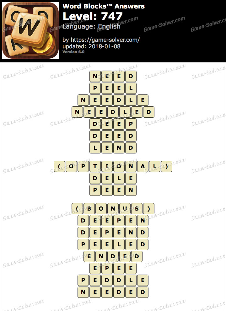 Word Blocks Level 747 Answers