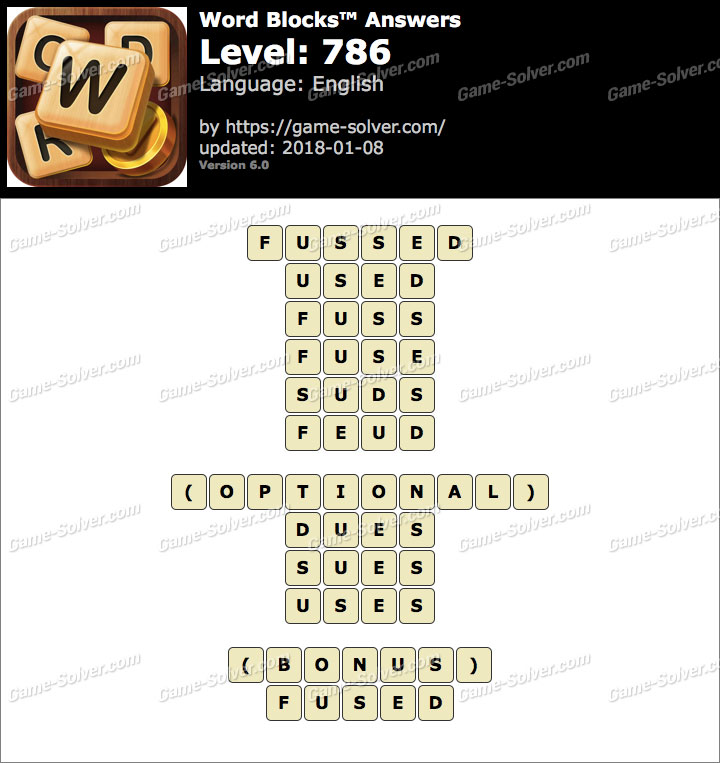 Word Blocks Level 786 Answers