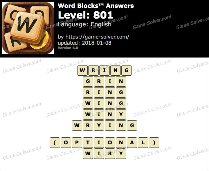 Word Blocks Level 801 Answers