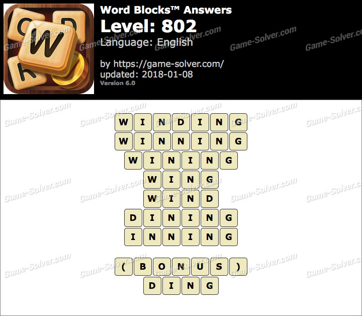 Word Blocks Level 802 Answers