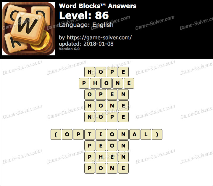 Word Blocks Level 86 Answers