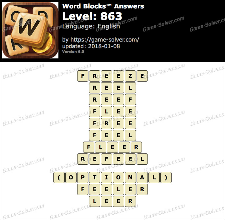 Word Blocks Level 863 Answers