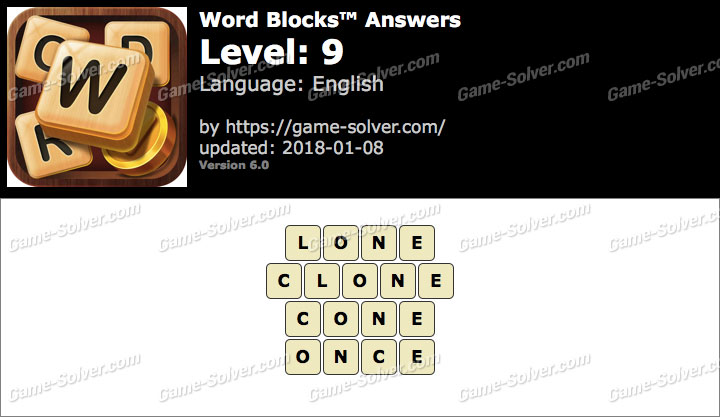 Word Blocks Level 9 Answers