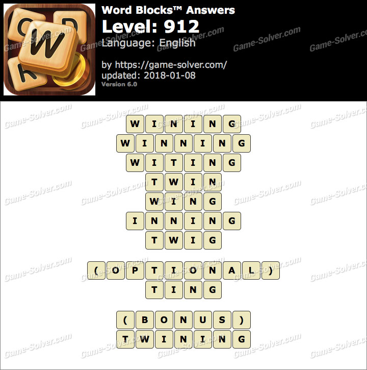 Word Blocks Level 912 Answers