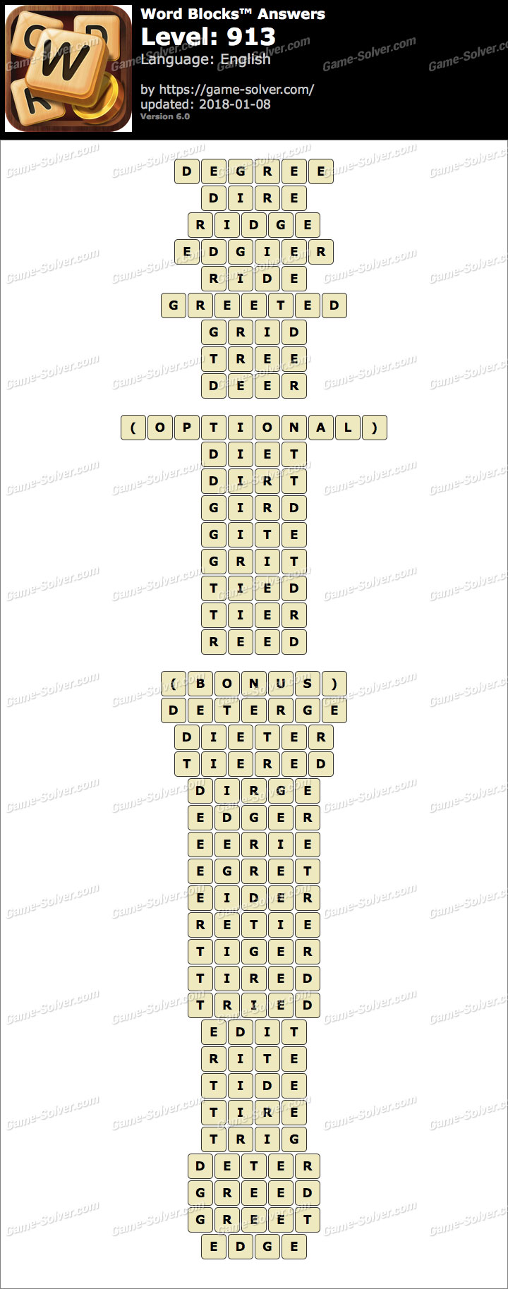 Word Blocks Level 913 Answers