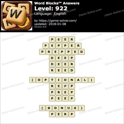 Word Blocks Level 922 Answers