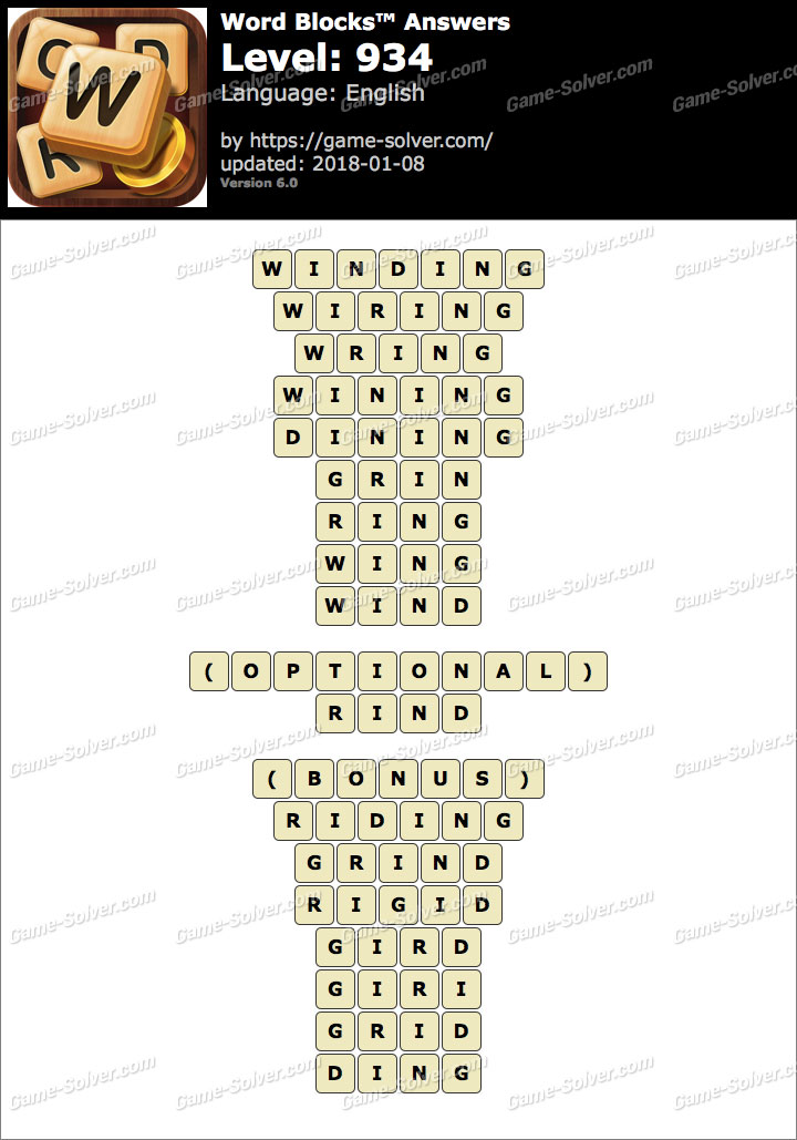Word Blocks Level 934 Answers