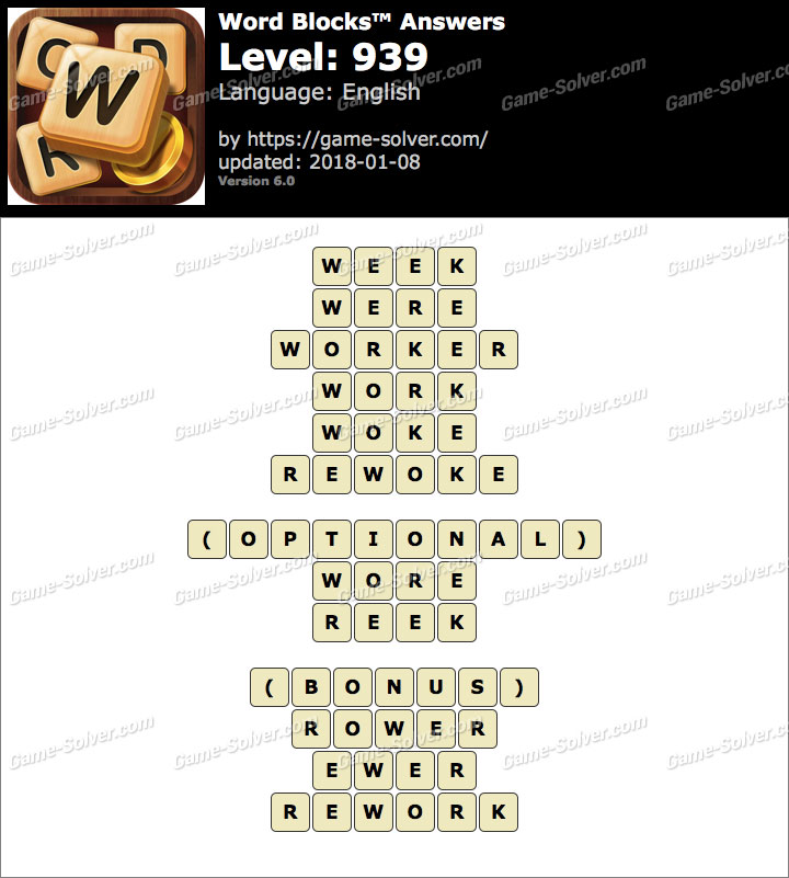 Word Blocks Level 939 Answers