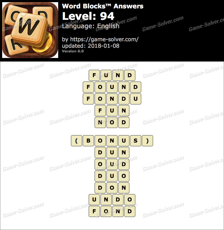 Word Blocks Level 94 Answers