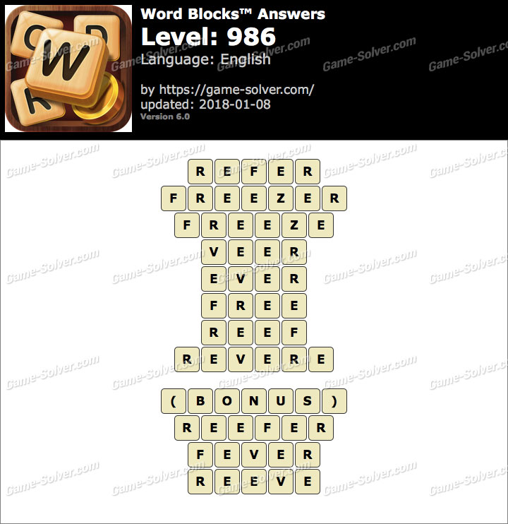 Word Blocks Level 986 Answers