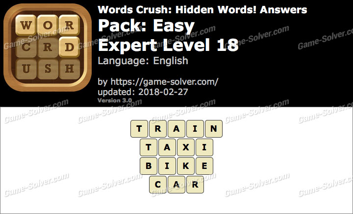 Words Crush Easy-Expert Level 18 Answers