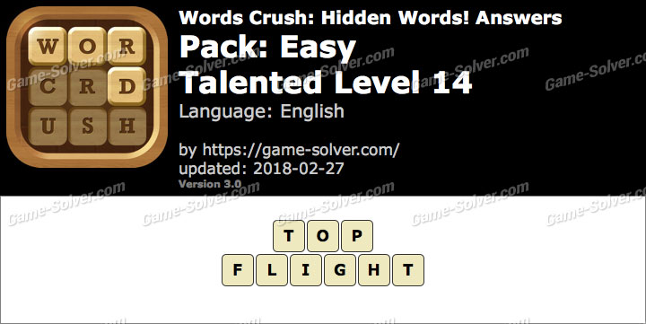Words Crush Easy-Talented Level 14 Answers