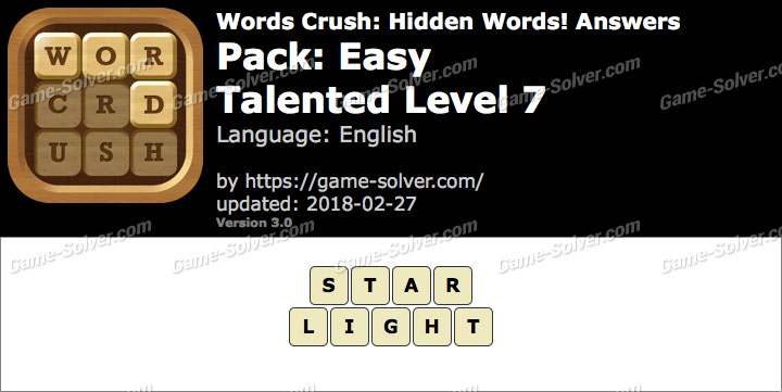 Words Crush Easy-Talented Level 7 Answers