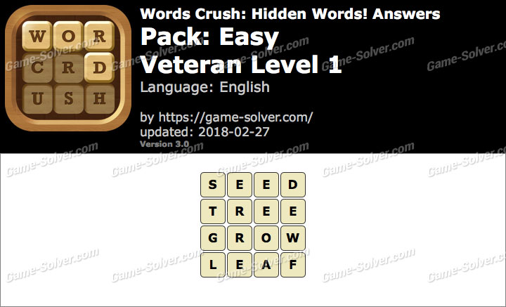 Words Crush Easy-Veteran Level 1 Answers