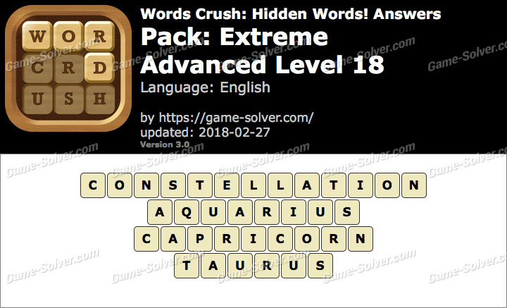 Words Crush Extreme-Advanced Level 18 Answers