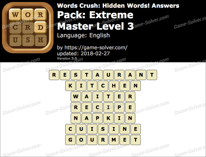 Words Crush Extreme-Master Level 3 Answers