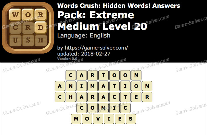 Words Crush Extreme-Medium Level 20 Answers