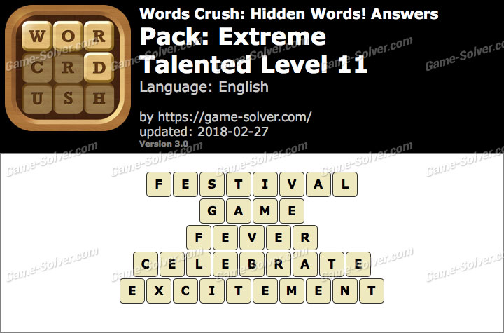 Words Crush Extreme-Talented Level 11 Answers